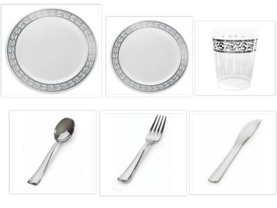 """Decorline White w/Silver Rim China-Like 9"""" Dinner Plates + 7"""" Salad Plates + Cutlery + Cups *Case of 120*"""