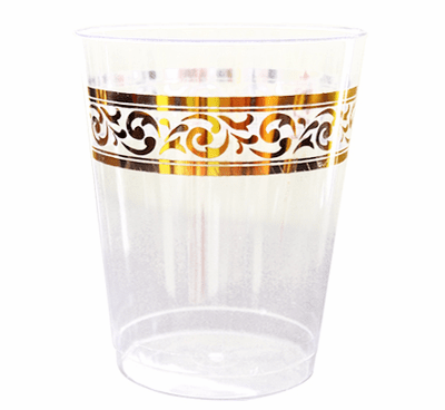 Decorline Clear With Gold Rim 10oz Plastic Cups 10ct.