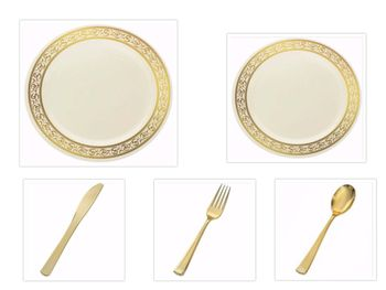 """Decorline Cream w/Gold Rim China-Like Plastic 9"""" Dinner Plates + 7"""" Salad Plates + Cutlery *Party for 100*"""