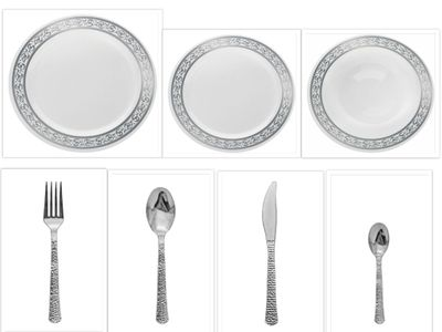 "Decorline White w/Silver Rim China-Like 9"" Dinner Plates + 7"" Salad Plates + 12oz. Soup Bowls + Cutlery *Case of 120*"