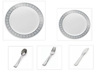 "Decorline White w/Silver Rim China-Like Plastic 9"" Dinner Plates + 7"" Salad Plates + Cutlery *Party of 100*"