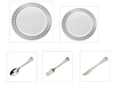 """Decorline White w/Silver Rim China-Like Plastic 9"""" Dinner Plates + 7"""" Salad Plates + Cutlery *Party of 40*"""