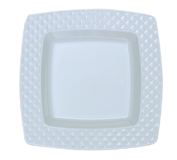 "Diamond Collection 6"" Square White w/ White Diamond Border Dessert Plates *Case of 120*"