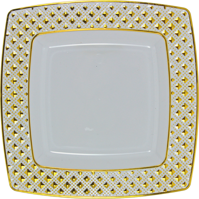 "Diamond Collection 9.5"" Square White w/ Gold Diamond Border Luncheon Plates, 10ct."