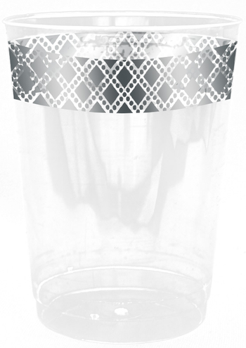 Diamond Collection Clear w/Silver Diamond Border 10oz Plastic Cups *Case of 240*
