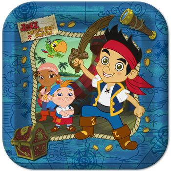 "Disney Jake and the Never Land Pirates Birthday Party 9"" Square Lunch Plates, 8ct."