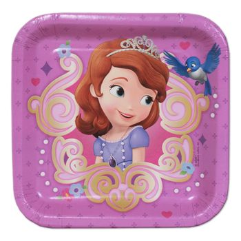 "Disney Princess Sophia the First Birthday Party 7"" Square Dessert Plates, 8ct."