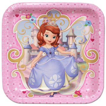 "Disney Princess Sophia the First Birthday Party 9"" Square Lunch Plates, 8ct."