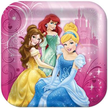 "Disney Princess Sparkle Birthday Party 9"" Square Luncheon Plates, 8 count"
