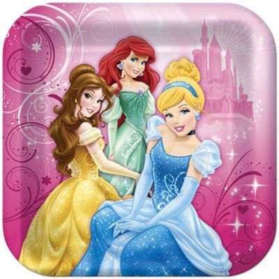 """Disney Princess Sparkle Birthday Party 9"""" Square Luncheon Plates, 8 count"""