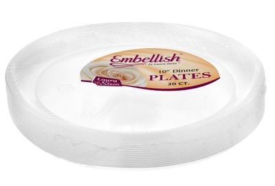 """Embellish 10"""" Clear Plastic Scroll Plates *Case of 120*"""