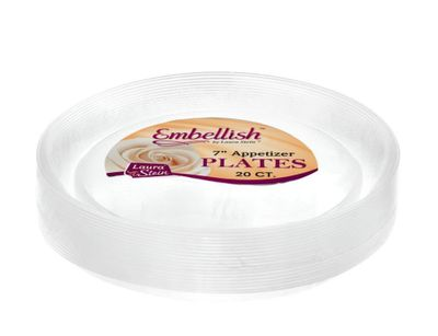 "Embellish 7"" Clear Plastic Salad Scroll Plates *Case of 120*"