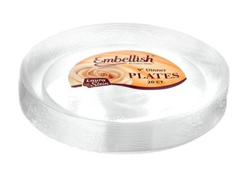 "Embellish 9"" Clear Plastic Scroll Plates *Case of 120*"