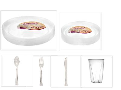 """Embellish Scroll Clear Plastic 10"""" Dinner Plates + 7"""" Salad Plates + Cutlery + Cups *Case of 40*"""