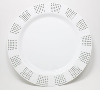 "Empress 10 1/4"" White w/ Silver Dot Border Dinner Plastic Plates *Case of 120*"