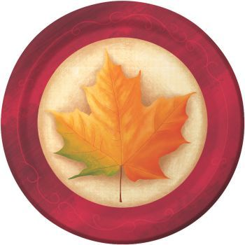 "Fall Breeze 9"" Thanksgiving Dinner Paper Plates 8ct."