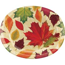 "Fall Leaves 12"" Thanksgiving Autumn Oval Plates/Platters 8ct."