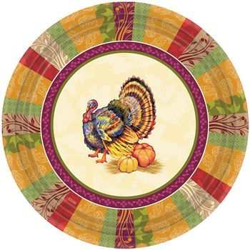 "Fall Turkey 10.25"" Thanksgiving Banquet Paper Plates, 8ct."