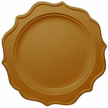 "Festive 10"" Gold Plastic Dinner Disposable Plates 12ct."