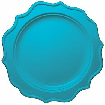"Festive 10"" Turquoise Plastic Dinner Disposable Plates 12ct."