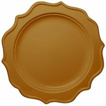"Festive 8"" Gold Plastic Salad Disposable Plates 12ct."