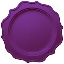"Festive 8"" Purple Plastic Salad Disposable Plates 12ct."