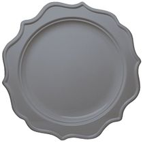 "Festive 8"" Silver Plastic Salad Disposable Plates 12ct."