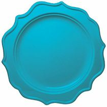 "Festive 8"" Turquoise Plastic Salad Disposable Plates 12ct."
