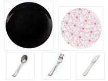 "Flora Design Collection Black 10.25"" Dinner Plastic Plates + White w/Burgundy Floral 8"" Salad Plastic Plates + Silver Cutlery *Party of 100*"