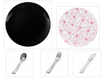 """Flora Design Collection Black 10.25"""" Dinner Plastic Plates + White w/Burgundy Floral 8"""" Salad Plastic Plates + Silver Cutlery *Party of 60*"""