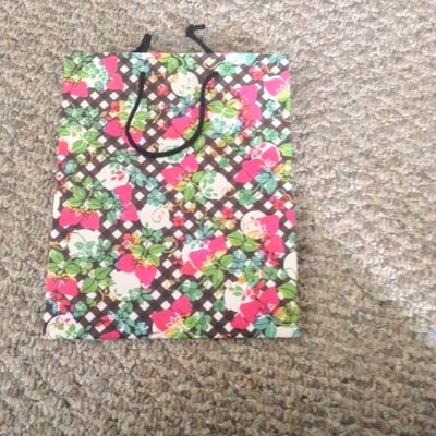 Floral and Checkered Medium Gift Bag With Black Rope Handle
