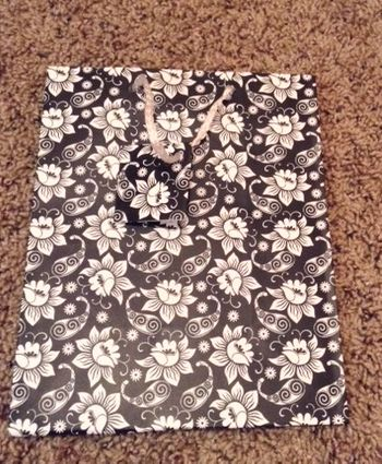 Floral Black and White Medium Gift Bag w/ White Rope Handle