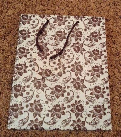 Floral Brown and Light Blue Medium Gift Bag w/ Brown Rope Handle