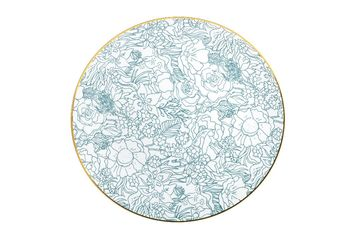 """Floral Brush Blue 10"""" Dinner Plastic Wedding Party Plates 10ct."""