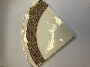 Floral Peach & Gold Border on White Backdrop Rice Napkins 15 per Pack
