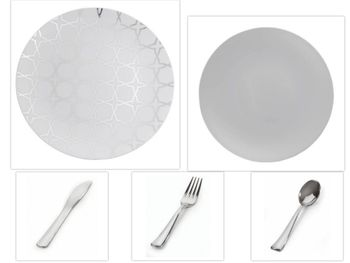 "Geo Design Collection White w/Silver Overlay 10.25"" Dinner Plastic Plates + Gray 8"" Salad Plastic Plates + Silver Cutlery *Party of 60*"