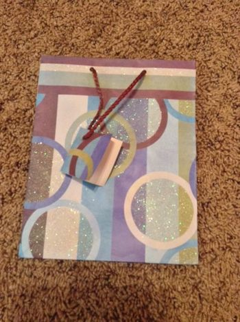 Geometric Glittery Circles Medium Gift Bag w/ Rope Handle and Gift Tag