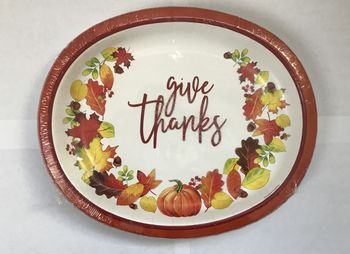 """Give Thanks 12"""" Thanksgiving Oval Plates/Platters 8ct."""
