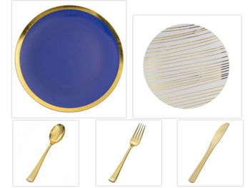 """Glam Design Collection Navy and Gold 10.25"""" Dinner Plastic Plates + White and Gold 8"""" Salad Plastic Plates + Gold Cutlery *Party of 100*"""