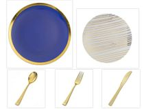 "Glam Design Collection Navy and Gold 10.25"" Dinner Plastic Plates + White and Gold 8"" Salad Plastic Plates + Gold Cutlery *Party of 100*"