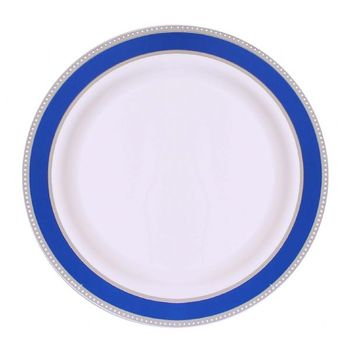 "Glamour Collection 10.25"" White w/ Metallic Silver and Blue Border Banquet Plastic Plates 10ct."