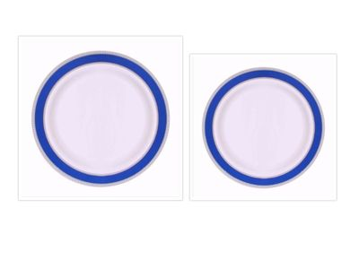 Glamour Collection White w/ Metallic Silver and Blue Border *Combo Plate Package for 20*