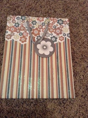 Glitter Brown and Blue Floral and Stripe Medium Gift Bag w/ Rope Handle and Attached Floral Gift Tag