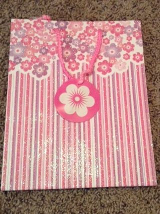Glitter Pink Floral and Stripe Medium Gift Bag w/ Rope Handle and Attached Floral Gift Tag