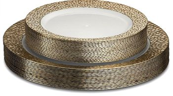 "Glitz Collection 10.25"" White w/Rose Gold Hammered Border Banquet Plastic Plates, 8ct."