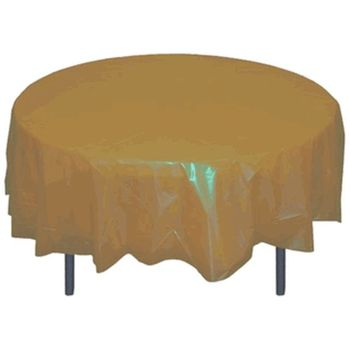 "Gold 84"" Round Plastic Tablecloths"