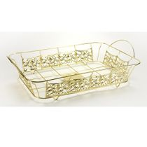 "Gold Decorative ""Full Size"" Aluminum Pan Holder 20.75"" x 12.8"""