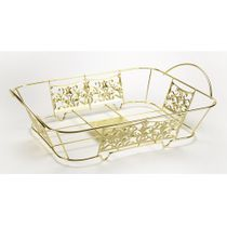 "Gold Decorative ""Half-Size"" Aluminum Pan Holder 12.75"" x 10.3"""