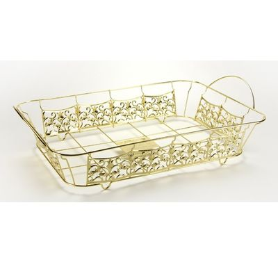 "Gold Decorative ""Large Roaster Size"" Aluminum Pan Holder 17"" x 12.5"""