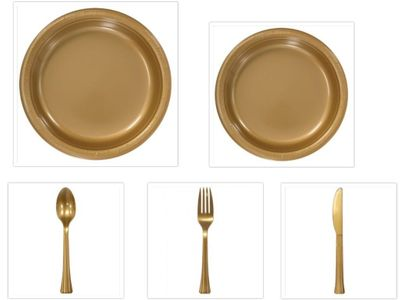 """Gold Plastic 10"""" Dinner Plates + 7"""" Salad Plates + Cutlery *Case of 100*"""